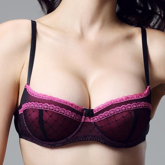 e57ed04539a 2014 Women Sexy Super Push Up Bra Intimates Lace Balconette Half Cup Demi  Cotton Padded Bras For Women 34 36 B C