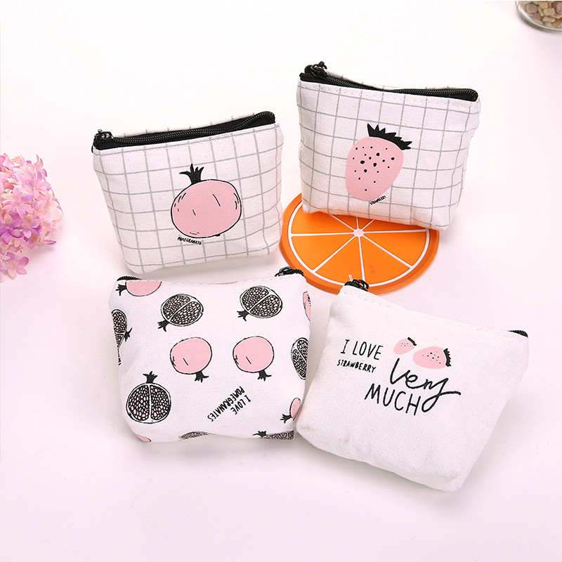 2017 Korean Children Canvas Coin Purse Cute Women Cartoon Fruit Coin Wallet Kawaii Girl's Small Money Bag Kids Coin Pouch
