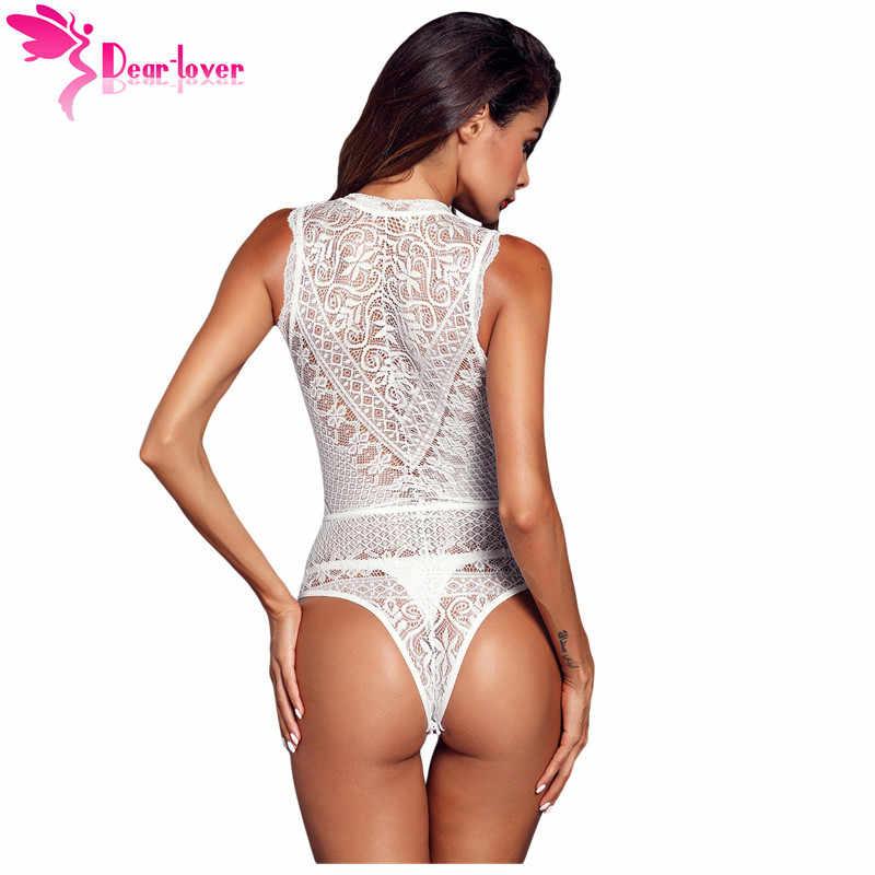 Dear Lover сексуальный комбинезон женский черный v-образный вырез без рукавов открытое Кружевное боди Топы Верхняя одежда цельные комбинезоны LC32247