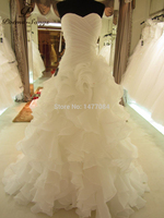 2014 Hot Sale Real Picture Organza Ruffle Wedding Dress