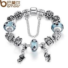 Bamoer Luxury 925 Sterling Silver Charm Bracelets With Daisies Murano Glass&Crystal European Charm Beads Jewelry SDP1831