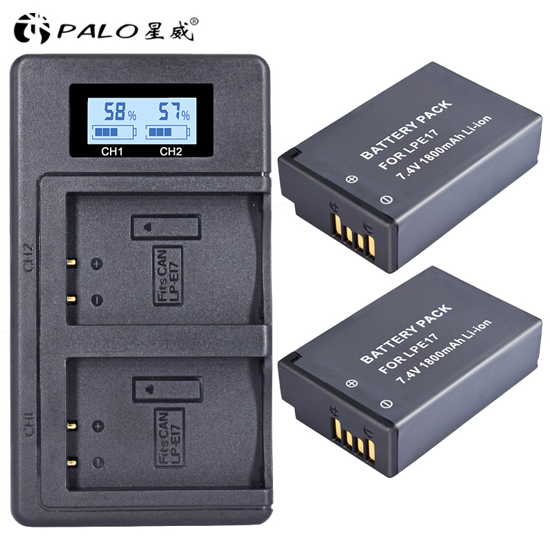 все цены на PALO 2Pc LPE17 LP E17 LP-E17 Battery+LCD USB Dual Charger for Canon EOS 200D M3 M6 750D 760D T6i T6s 800D 8000D Kiss X8i Cameras
