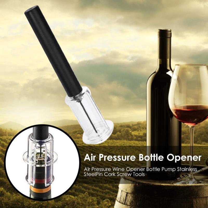 Air Pressure Wine Opener Bottle Pump Stainless Steel Pin Cork Screw Tools