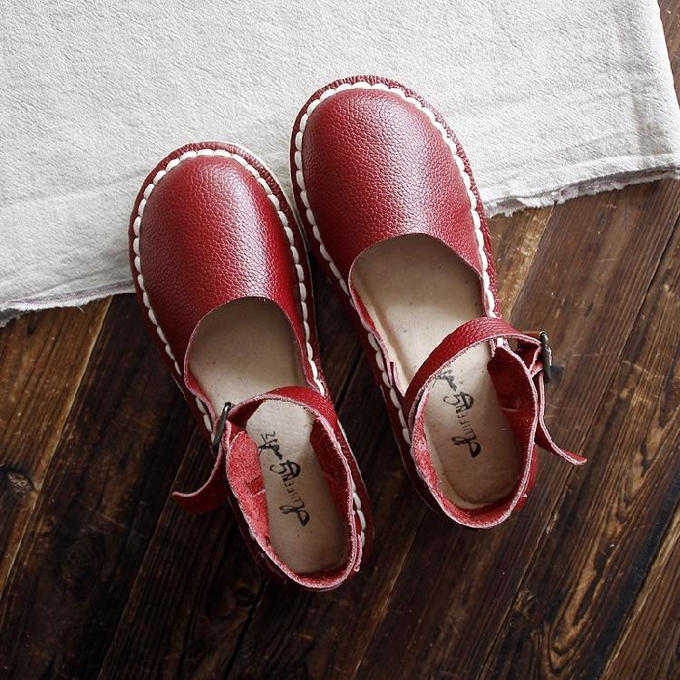 Mou Originale La Fond Faites Chaussures Beige Femelle Cuir maison En Confortable Tête Rome red white À Style Ronde Huifengazurrcs Main Sandales 5wBOqO