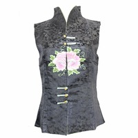 Sexy Black Sleeveless Women Cotton Shirt Tops Chinese Style Embroidery Blouse Summer Flower Clothing M L