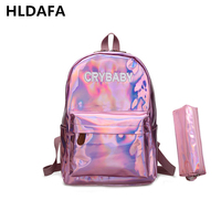2017 New Women Hologram Backpack Laser Daypacks Girl School Bag Female Silver Pu Leather Holographic Bags