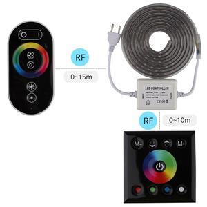 Image 4 - 2 Finger touch fernbedienung RGB LED Streifen 220 V 220 V wasserdicht LED Streifen Licht 60 leds/m 5050 band ledstrip streifen band IL
