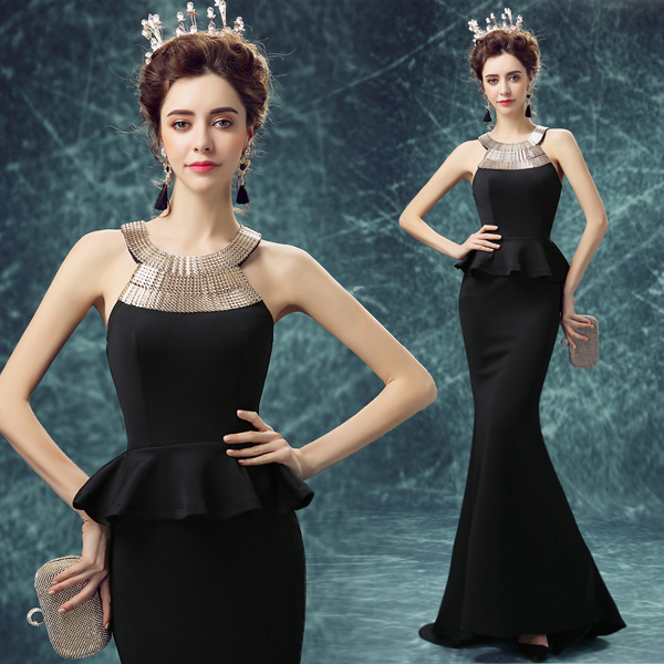 Y Black Tail Metal Halter Wedding Dress Show Host Annual Dinner Evening Dresses In From Weddings Events On Aliexpress