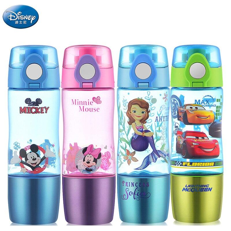 Disney la reine des neiges, bouteille d'eau droite pour enfants, elsa et anna, bouteille pour l'école sans bpa, multifonction, cadeau pour enfants