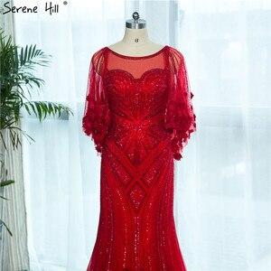 Image 5 - Женское вечернее платье с юбкой годе, красное платье с кристаллами и бисером, модель LA6135, 2020
