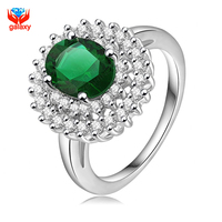 GALAXY Luxury Wedding Rings For Women 18K White Gold Plated Jewelry Ring Fashion Green Zircon CZ