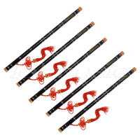 Kmise 5 set Black Paint Traditional Chinese Bamboo Flute Dizi F Key Musical Instrument