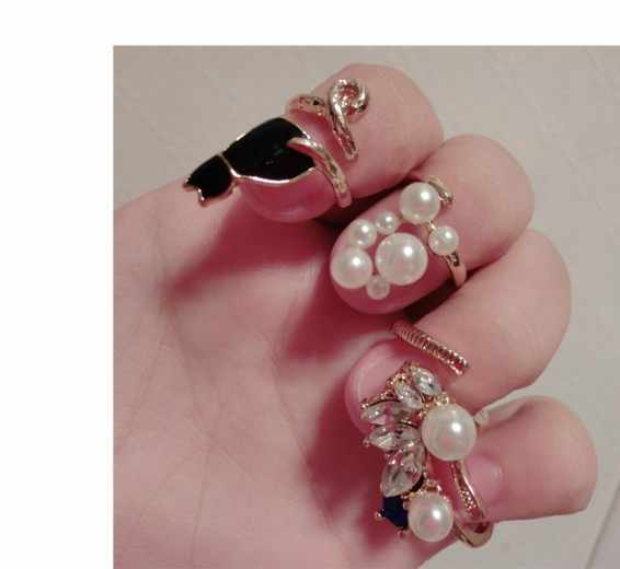 4pcs/set Crystal Black Cat Simulated-Pearl Zircon Nail Rings Set For Women Anillos Resizable Knuckle Ring