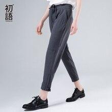 Toyouth harem calças femininas 2019 verão calças soltas femme meados wasit tornozelo comprimento com drawstrings