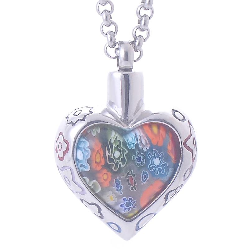Bohemia Memorial Flower Patch murano glass Heart Pendant Necs