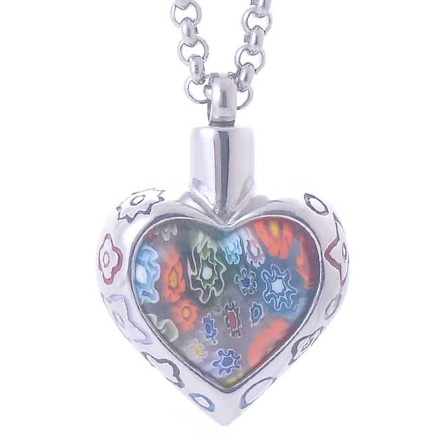 8aafbcf54 Bohemia Memorial Flower Patch murano glass Heart Pendant Necklace Stainless  Steel Cremation Jewelry ash urn women