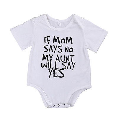для новорожденных одежда для маленьких мальчиков и девочек если мама сказать без моя тетя скажет да летом correcting Body для женщин для маленьких па женский костюм, белый 0-24 м