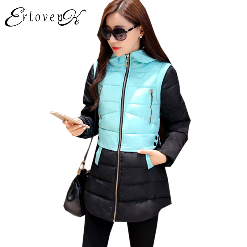New 2017 Winter Cotton Coats Women Jacket Stitching Slim parkas Hooded Feather Padded Female Long Outerwear abrigos mujer 1056 2017 new winter warm hooded long women s coats thick cotton jacket women embroidery letter vintage overcoat parkas abrigos mujer
