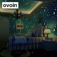 Glow Effect Star And Moon Pattern Luminous Wallpaper Kids Ceiling Decor Fluorescent Wall Paper For Children