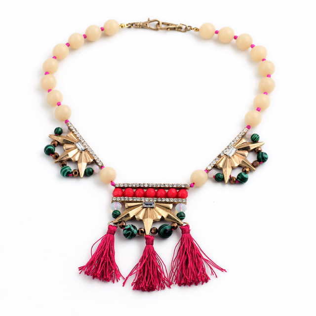 Women Fashion Beads Chain Tassel Ethnic Necklace Boho Accessories