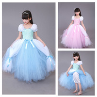 POSH DREAM 4 Layer Girls Cinderella Dresses Children Blue Princess Party Halloween Costume Brand Kids Dress Kids Girl Clothes