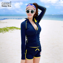 Sunny eva women s suit high waist swimwear navy sports suit female large sizes Long sleeve