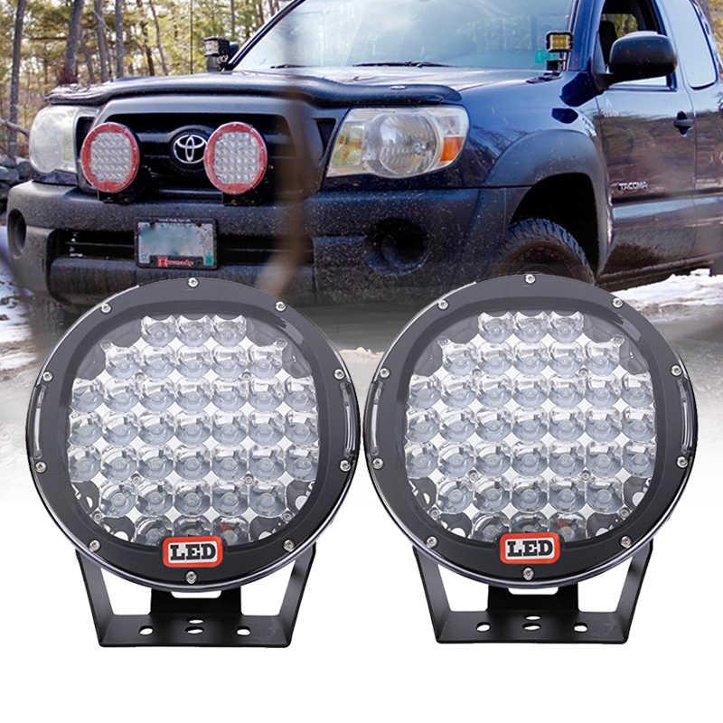Pair185W 9 Inch Tempat Lampu Kerja LED Lampu untuk Truk Jeep 4WD Bulat Offroad Mengemudi Lampu/Merah