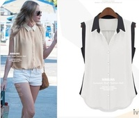 Free Shipping Europe And The United States Star In Same Color Matching Mix Sleeveless Chiffon Shirt
