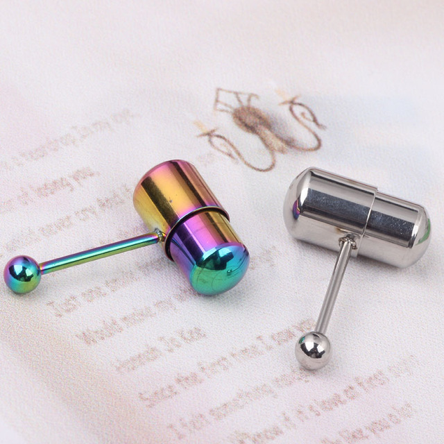 Black Rainbow Steel Cute Vibrating Tongue Barbell Rings