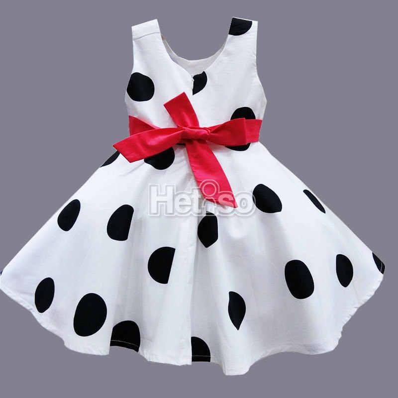 d48aeff92ca65 6M-5T Baby Girl Clothes Black Dot Red Big Bow Princess summer baby dress  kids clothes vestidos infantis