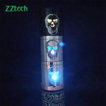 ZZtech 새로운 스타일의 전자 담배 독특한 LED 해골 디자인 플래시 및 모든 atomizers에 대한 컬러 조명을 변경