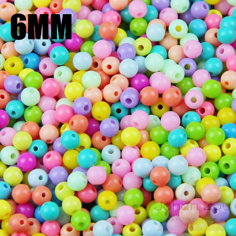 Beads & Jewelry Making Jhnby Top Quality 250pcs Mixed Candy Light Color Acrylic Cream Beads Neon Smooth 6mm Round Loose Beads Fit Jewelry Handmade Diy Clients First