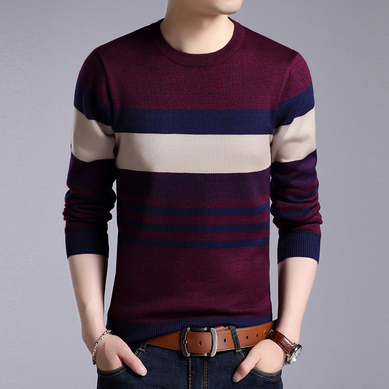 2019 New Fashion Brand Sweater Mens Pullover O-Neck Slim Fit Jumpers Knitwear Thick Warm Autumn Korean Style Casual Mens Clothes