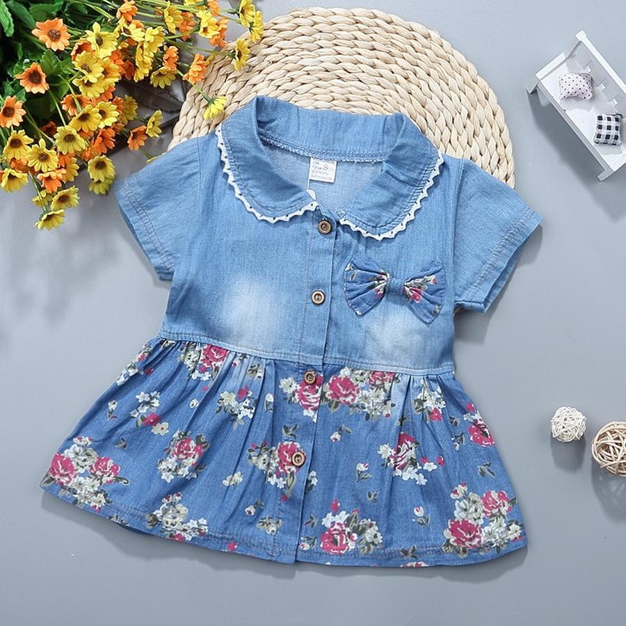 rechange Newborn Infant Baby Girls Sleeveless Denim Tulle Patchwork Tutu Dress Party Princess Dress