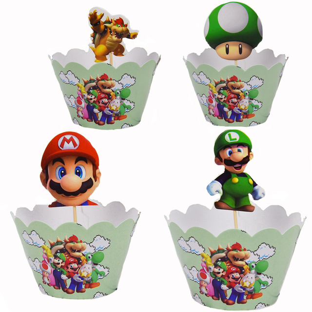 12set Super Mario Theme Party Cake Decoration Baby Shower Cupcake Wrappers Happy Birthday Events Party Cake Toppers