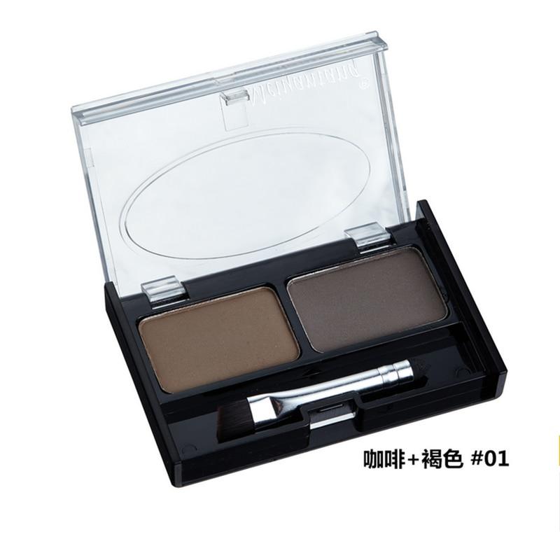Professional Eye Brow Makeup 2 Color Eye Shadow Eyebrow Powder With Brush Eyebrow Cake Dark Brown Make Up Palette Set Kit