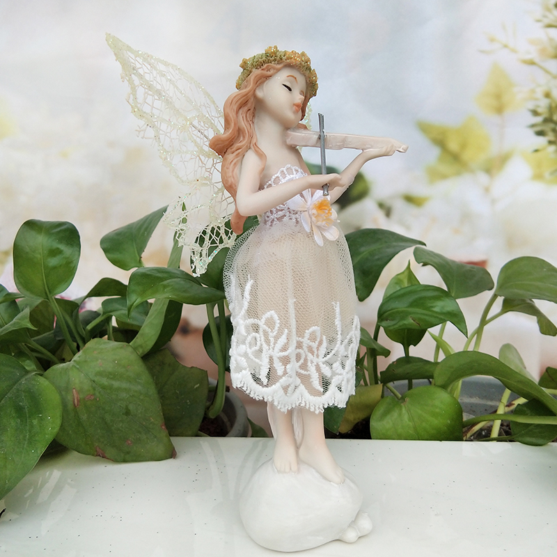 Love Music Angel Beautiful Girl Flower Fairy Garden Wedding Gift Playing  The Violin Resin Home Decoration Gifts For Mother In Figurines U0026 Miniatures  From ...