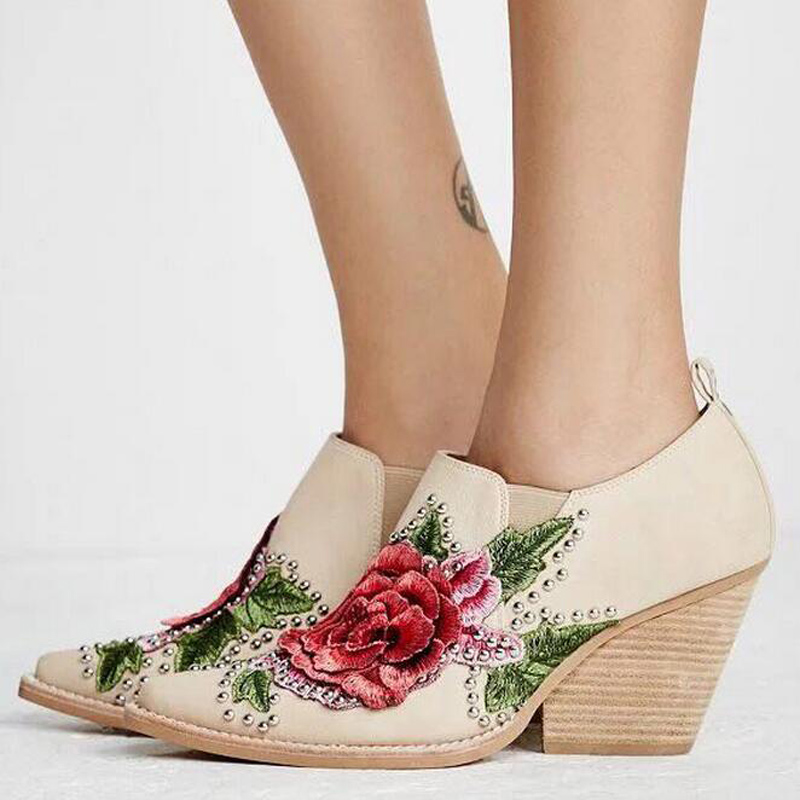 Hot Sale Pointed Toe High Heel Booties Mujer Vintage Flower Embroidery Rivets Studded Ankle Boots Spring Autumn Shoes Women hot sale vintage round toe high heel cowboy booties mujer fringe rivets embellished ankle boots wedding party dress shoes women