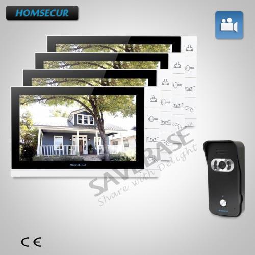 HOMSECUR 9 проводной видео и аудио дома, домофон + белый монитор для квартиры 1C4M ...