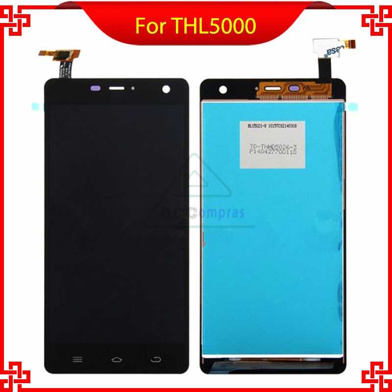все цены на  For THL 5000 100% Original Good Quality In Stock LCD Display+ Touch Screen Glass Assembly Replacement THL 5000 Free Shipping  онлайн
