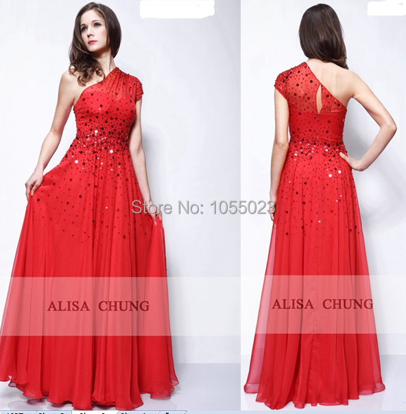 223b0a49d0 US $182.0 |2015 New Fashion Miranda Kerr David Jones Red One shoulder  Sequined Chiffon A Line Celebrity Prom Dresses Evening Long Vestido-in  Evening ...