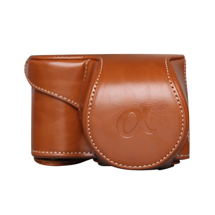 De calidad Superior de cuero Cámara bolsa de la Bolsa de la cubierta de la caja para Sony A6000 A6300 NEX6 Mar02