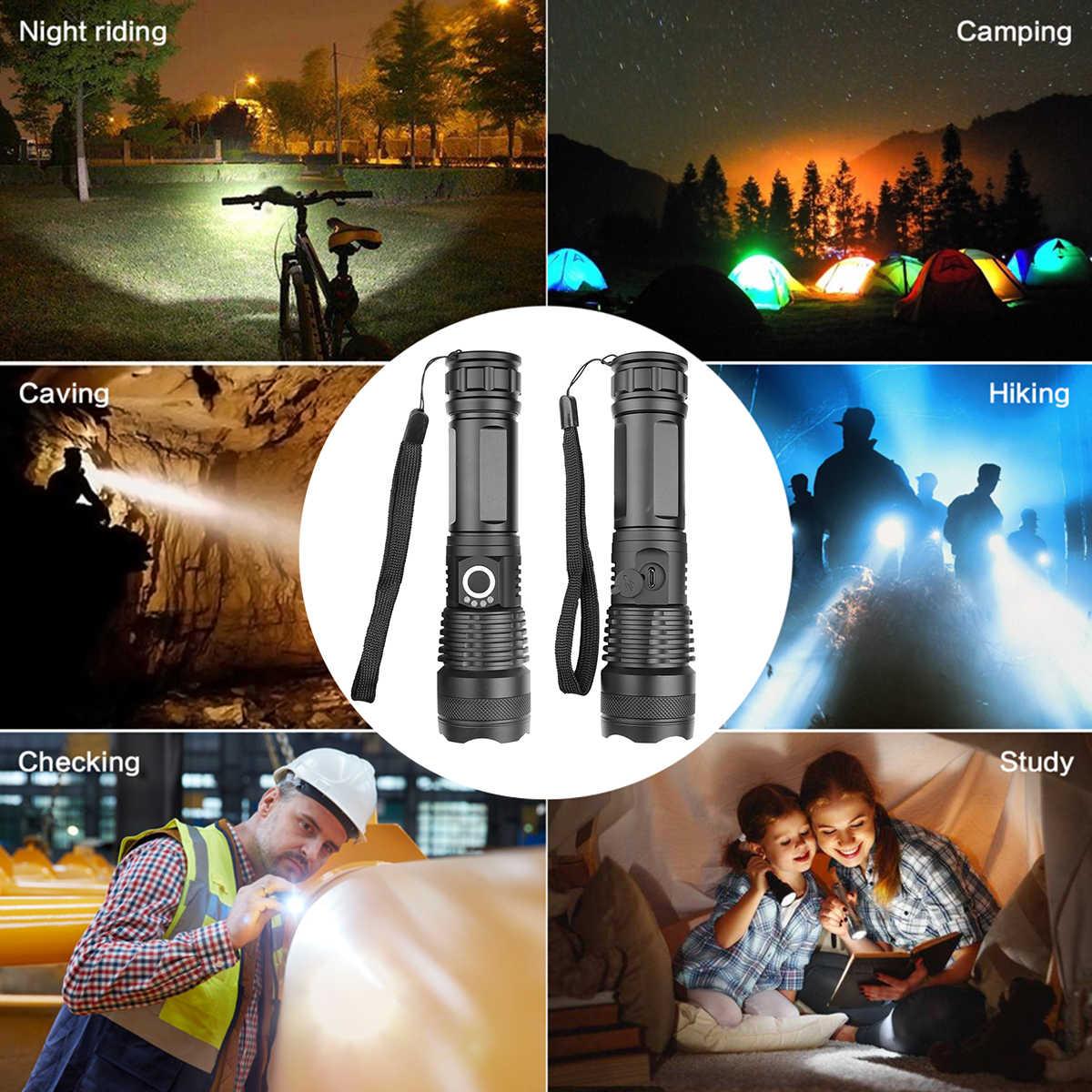 30000 Lumens Đèn xhp50.2 mạnh nhất Đèn pin USB Zoom linterna Đèn pin Led Sạc XHP50 18650 hoặc 26650 săn bắn