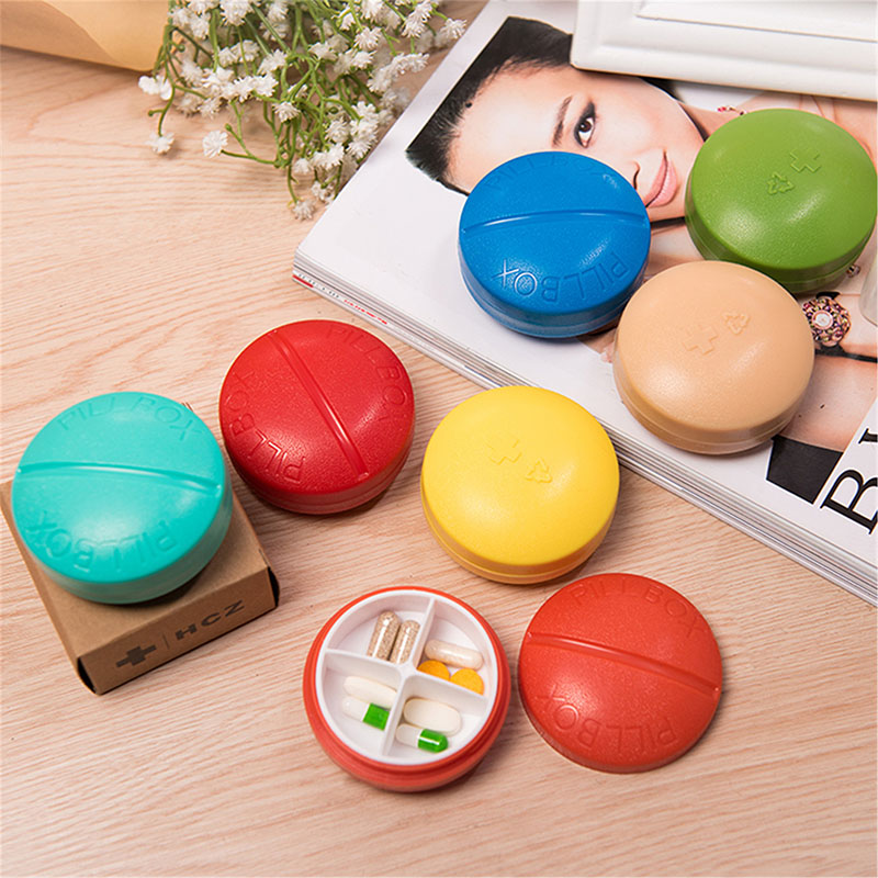 Mini 4 Slot Healthy Care Pill Box Medicine Drugs Tablet Holder Sort Storage Case Round Storage Box Organizer Pill Container