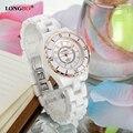 Famous Brand LONGBO Ceramic Watches Women 33mm Diameter Luxury Imitative Rhinestone Quartz-watch for Girl montre femme 8628