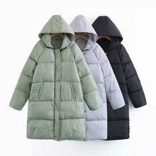 暖かい厚みフード付きのカジュアル冬ジャケットパーカー 冬ダウン綿のジャケットの女性パーカーコートチャケータ Mujer Q960