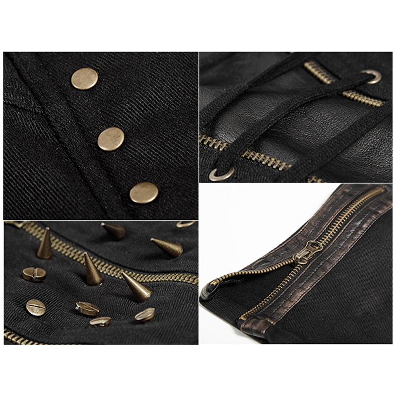 Pu Noir Mode Couture Printemps Vapeur Cuir Rivets Femmes 2017 Longs En Métal Pantalon Pantalons Mince Punk Rock xgaICwq