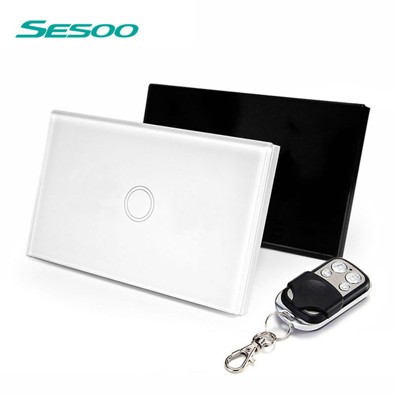 sesoo US Standard SESOO Remote Control Switch 1 Gang 1 Way ,RF433 Smart Wall Switch, Wireless Remote Control Touch Light Switch us standard remote control 3 gang 1 way touch panel rf 433 smart wall switch wireless remote control light switch for smart home