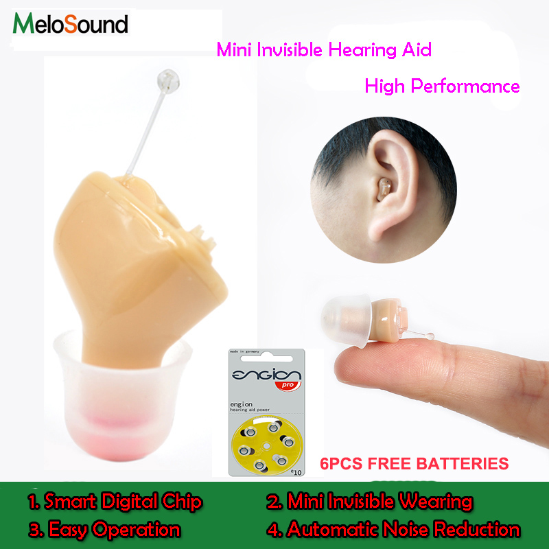 2PCS x MeloSound CIC Invisible Hearing Aids invisible Amplifier Hearing Aid Portable Small inner Ear Left