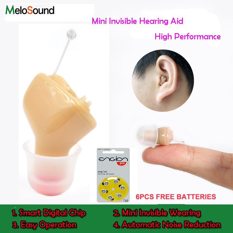 2ピースx melosound cic見えない補聴器見えないアンプ補聴器ポータブル小さな内耳左耳+右耳  グループ上の 美容 & 健康 からの 耳のケア用品 の中 1